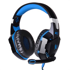 G2000 Computer Stereo Gaming Headphones casque Deep Bass Game Earphone Headset with Mic LED Light blue