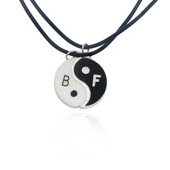 Necklace Yin Yang Tai Chi Pendant Couples Paired Necklaces&Pendants Unisex Lovers Valentine's Gift black a