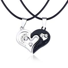 Necklace Pendant Couples Paired Necklaces&Pendants Unisex Lovers Pendant black + white a