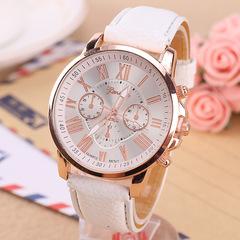 Geneva Watches Women Casual Roman Numeral Watch Leather Band Quartz Wrist Watch relogio Clock white one size
