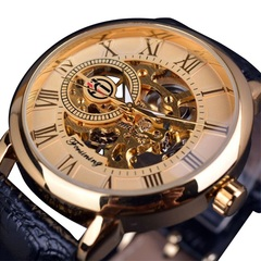 Hollow Engraving Black Gold Case Leather Skeleton Mechanical Watches Men Luxury  Mechanical Watches gold A