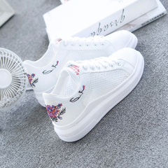 Women Casual Shoes Women Shoes Fashion Embroidered Breathable Hollow Lace-Up Women Sneakers black 35