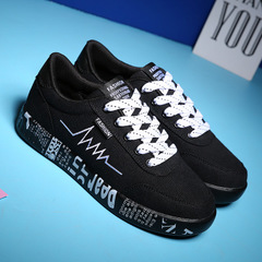 Fashion Women Vulcanized Shoes Sneakers Ladies Lace-up Casual Shoes Breathable Walking Canvas Shoes black 36