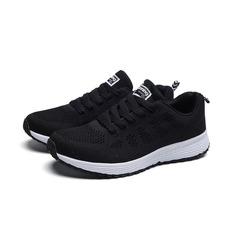 Women casual shoes fashion breathable Walking mesh lace up flat shoes sneakers women Casual shoes black 36