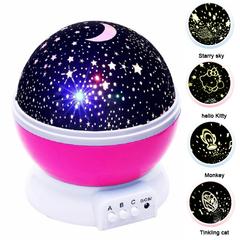 Bright Romantic starry sky LED Night Light Night Light Projector USB Battery Creative Birthday Toys Blue+Starry sky 12*12*13.5 0.5v