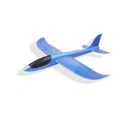 DIY Toys Children Hand throw Plane model aircraft Foam Stuffed Toys for Children Game Glider Plane blue 35cm