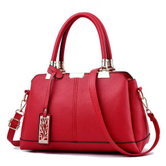 Leather handbag for Women Lady Tree metal decoration Shoulder handbags Shoulder Bag Women Bag red one size