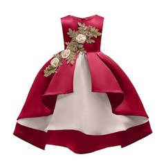 Girl Silk Princess Dress for Wedding party Kids Dresses for Toddler Girl Fashion Christmas Clothing red 100