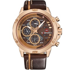 Mens Watches Waterproof 24 hour Date Quartz Watch Man Leather Sport Wrist Watch Men Waterproof Clock 2 one size