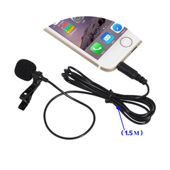 3.5mm Jack Microphone Tie Clip-on Lapel Microfono Mic for Mobile Phone For Speaking Lectures black a