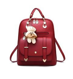 Female Backpack PU Leather School Bags For Female students Girls Leisure Backpacks Female Rucksack red one size