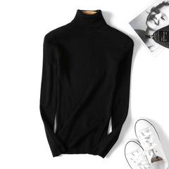 Turtleneck Warm Women Sweater Autumn Winter Femme Pull High Elasticity Soft Female Pullovers Sweater black One size