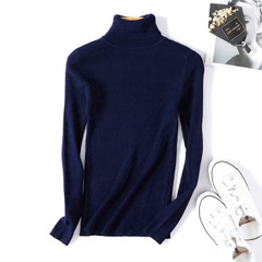 Turtleneck Warm Women Sweater Autumn Winter Femme Pull High Elasticity Soft Female Pullovers Sweater Dark blue One size