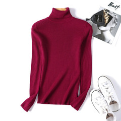Turtleneck Warm Women Sweater Autumn Winter Femme Pull High Elasticity Soft Female Pullovers Sweater red One size