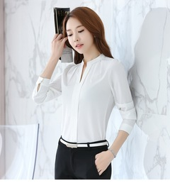 Women Tops Long Sleeve Shirts play chiffon blouse v-neck shirt occupation leisure solid color shirt white s