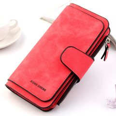 Women Leather Lady Purses High Quality Ladies Wallet Long Female Wallet Multi-functional purse red a