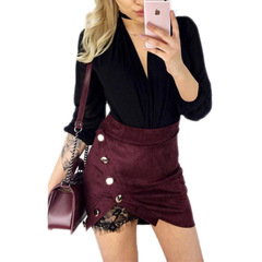 fashion Women Ladies Waist Pencil Skirts lace sexy Bodycon Suede Leather split party casual Skirt red s