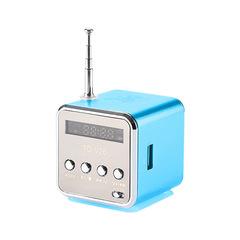 TD-V26 Mini Speaker Portable MP3 Music Player  LCD Support FM Radio Micro TF SD Stereo Loudspeaker blue TD-V26
