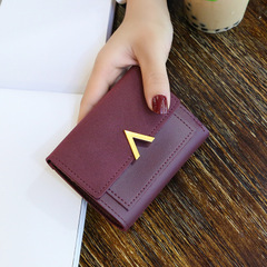 Female stitching metal V-shaped decorative abrasive retro short wallet students simple buckle Wallet red a