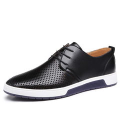 New Men Casual Shoes Leather Summer Breathable Holes Luxury Brand Flat Shoes for Men leather shoes black 37