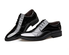 Fashion Oxford Business Men Shoes Genuine Leather Soft Casual Breathable Men's  Shoes Leather shoes black 38