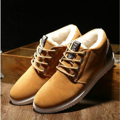 Winter Men keep warm with fur snow shoes Male Flats Walking shoes Light Fashion male casual Sneakers brown 39
