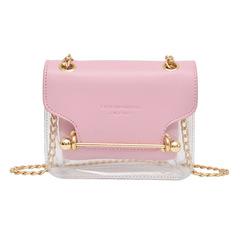2018 New PU Transparent Hand-held Bag Waterproof Slant-span Single Shoulder Bag Fashion Women's Bag pink one size
