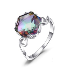 Jewelry Genuine Rainbow Fire Mystic Topaz Ring Solid Sterling Silver Jewelry Ring Sets Gifts Women silver 6 Number