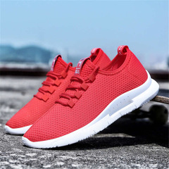Odor-proof breathable mesh cloth shoes Woven Men Casual Shoes Outdoor Shoes Sneakers red 39