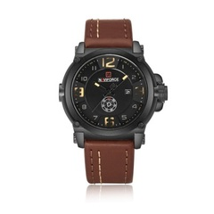 Fashion Mens Watches Naviforce Militray Sport Quartz Men Watch Leather Waterproof Male Wristwatches brown one size