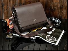 New men's messenger bag Vintage leather shoulder bag crossbody bag,Business affairs Briefcase transverse+brown Small