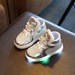 New Children Shoes Spring Rhinestone LED Shoes Girls Princess Cute Shoes With Light casual shoes silver 21