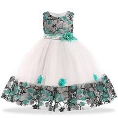 Kids Dresses Girls Party Dress Christmas Girls Dress Children embroidered dress lace princess skirt green 140 cm