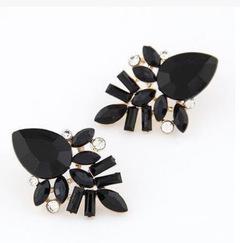 New Women Fashion Jewelry Style Earrings Handmade Rhinestone sweet stud crystal Dangle earrings black one size