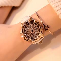 Women Watch Fashion Casual Crystal Wristwatch Leather Strap Quartz Watch Turntable Quartz Watch white one size