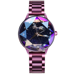 2018 girl Crystal Watch Fashion Rose Gold Quartz Watches Female Stainless Steel Wristwatches purple one size