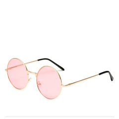 Women's fashion Cute color lens retro round sun glasses personality ocean piece sun glasses pink a
