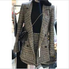 2018 winter autumn women's suit jacket female fashion two-piece warm coat jacket skirt suit gray s