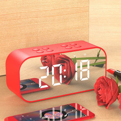 Bluetooth 5.0 Portable Mini Wireless Bluetooth Speaker Bass Music Sound Box LED Time Alarm Clock red BT501