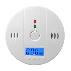 CO Gas Sensor Detector CO Poisoning Alarm LCD Photoelectric Independent 85dB Warning High Sensitive white