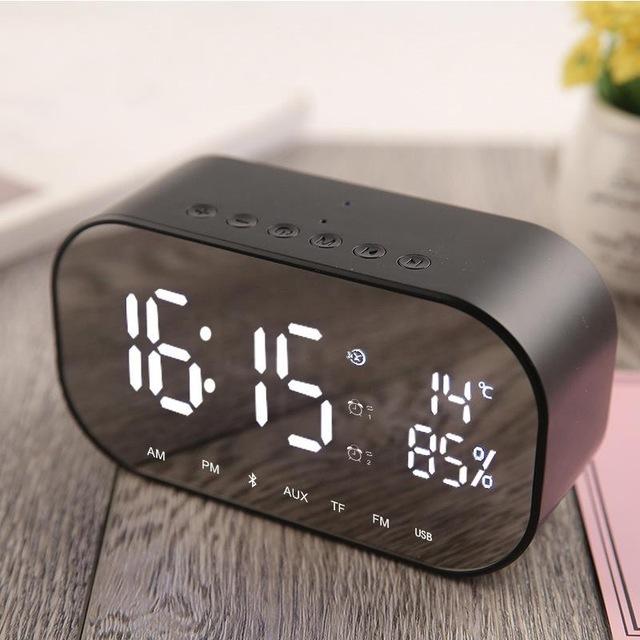 Multifunctional Wireless Bluetooth audio LED Mirror Clock Display Time / Temperature Clocks Speaker black S2
