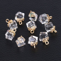 10pcs Jewelry Cube Glass Loose Beads Square Shape Crystal Beads Bracelet DIY Necklace accessories transparent white one size