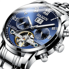 Man's Automatic Mechanical Watch Multifunctional Hollow-out Business Leisure waterproof Wristwatch 1 one size