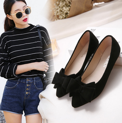 Shallow mouth pointed suede single shoes flat bottom scoop shoes female flat with bow black 35
