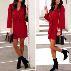 long sleeve chiffon summer dress women Black bow office bandage dresses Sexy red female ladies short s red
