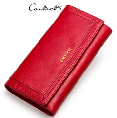 Clutch Wallets for Women Coin Purse Phone Pocket Genuine Leather Female Wallet Card Holder Money Bag red 19*10*3.5cm