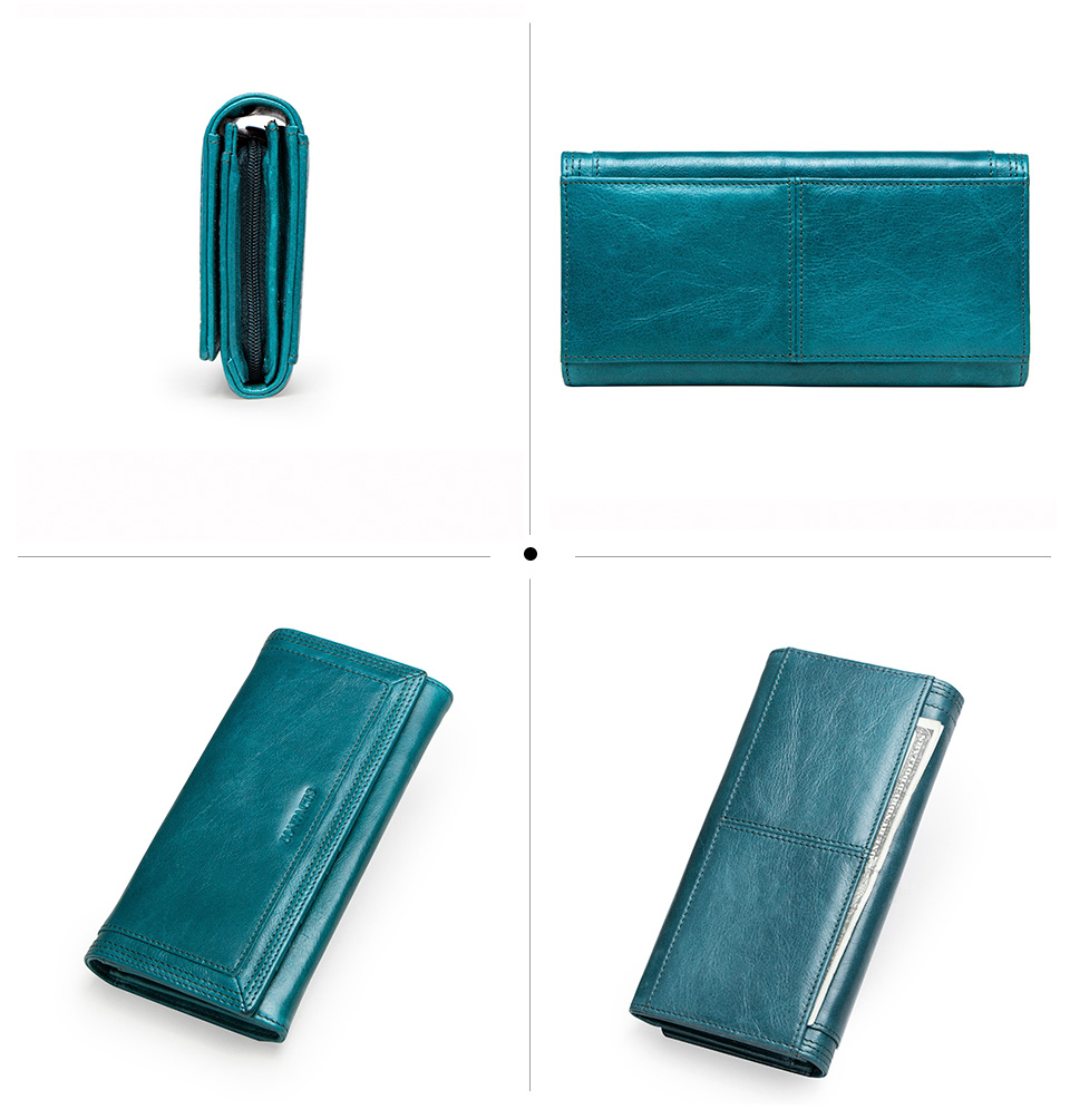 Clutch Wallets for Women Coin Purse Phone Pocket Genuine Leather Female Wallet Card Holder Money Bag gray 19*10*3.5cm 5