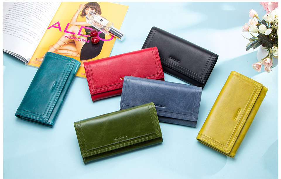 Clutch Wallets for Women Coin Purse Phone Pocket Genuine Leather Female Wallet Card Holder Money Bag gray 19*10*3.5cm 1