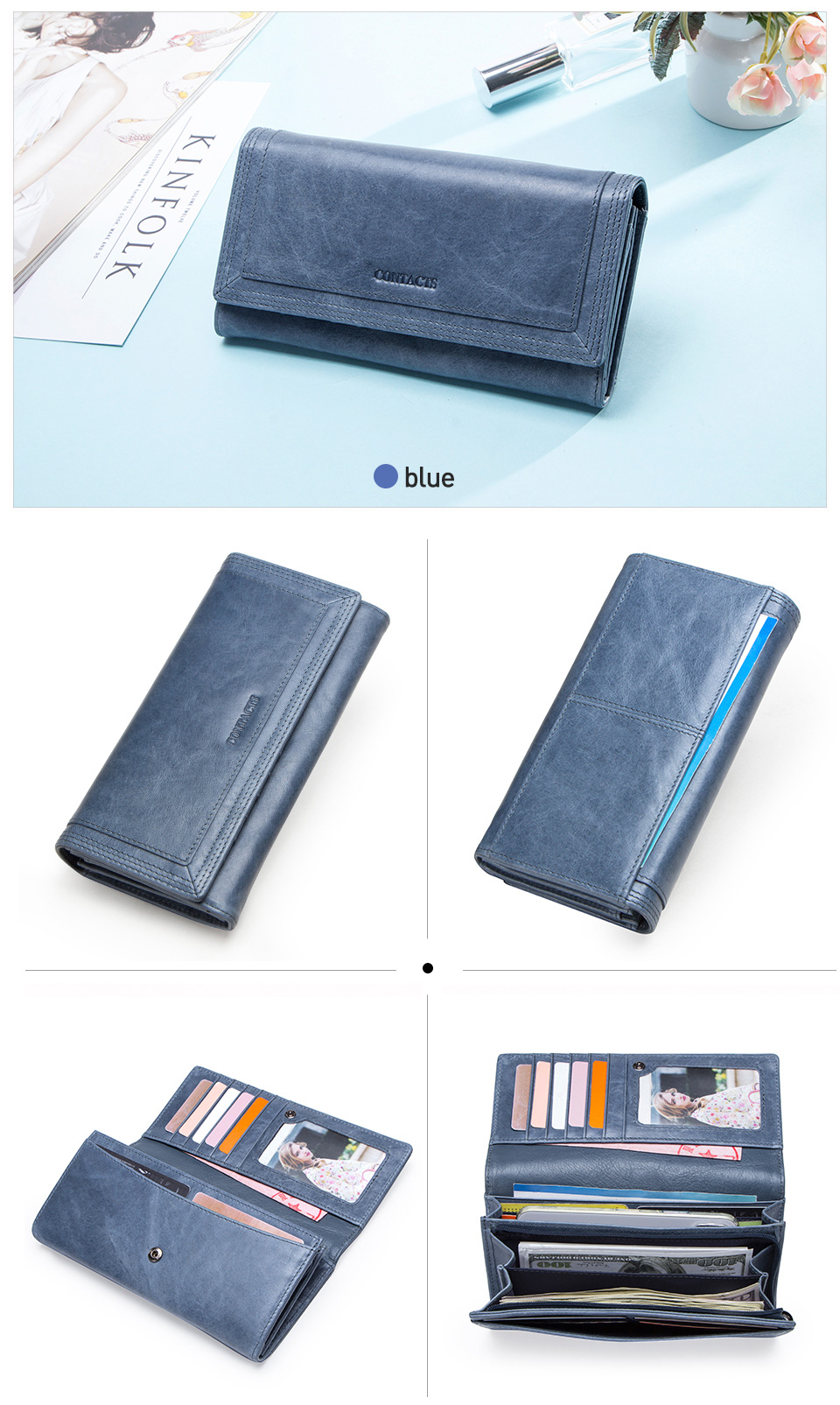 Clutch Wallets for Women Coin Purse Phone Pocket Genuine Leather Female Wallet Card Holder Money Bag gray 19*10*3.5cm 19