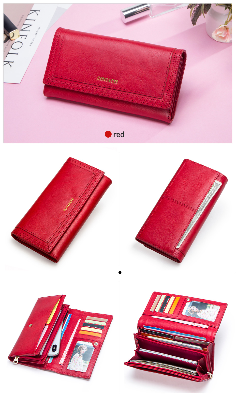Clutch Wallets for Women Coin Purse Phone Pocket Genuine Leather Female Wallet Card Holder Money Bag gray 19*10*3.5cm 11